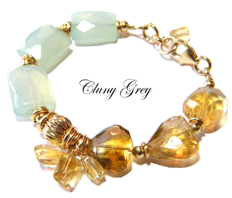 unique bracelet with citrine and chalcedony