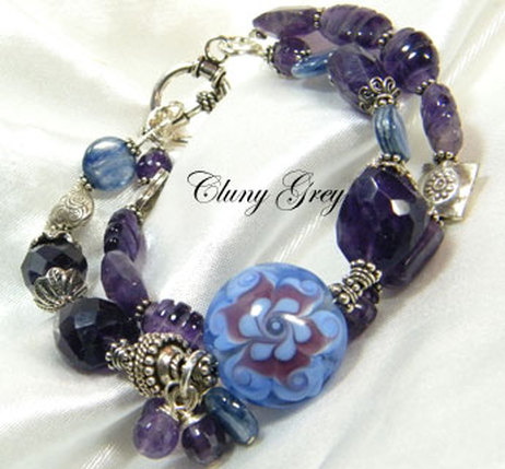 amethyst bracelet with kyanite
