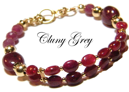 ruby bracelet with 14 karat gold-filled accents