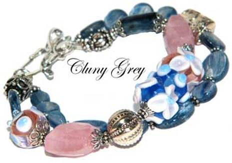 kyanite bracelet with lampwork