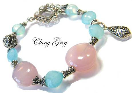 gemstone bracelet with chalcedony