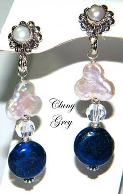 lapis earrings with freshwater pearls and sterling silver