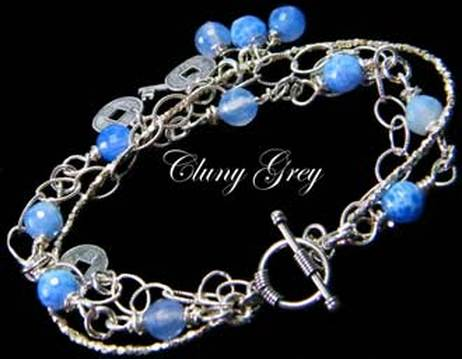blue agate bracelet with sterling silver