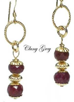 ruby dangle earrings with gold