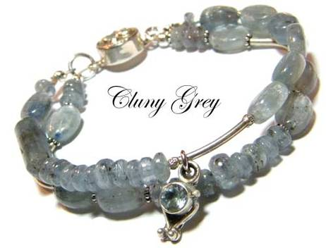 kyanite bracelet with sterling silver clasp