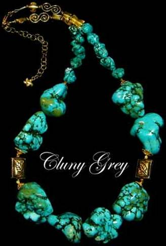 chunky turquoise necklace with gold