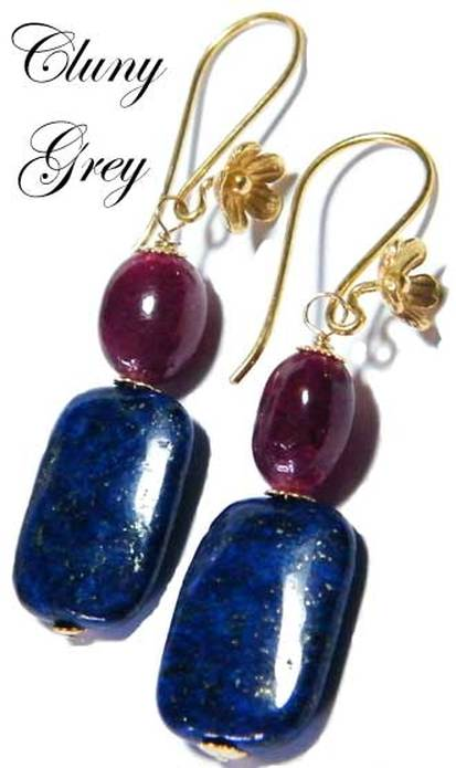 lapis earrings with gold and rubies