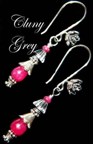 ruby dangle earrings with sterling silver