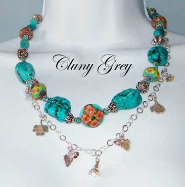 turquoise statement necklace with sterling silver charms