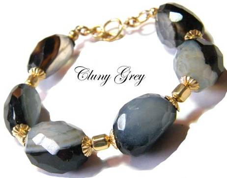 agate bracelet with gold accents