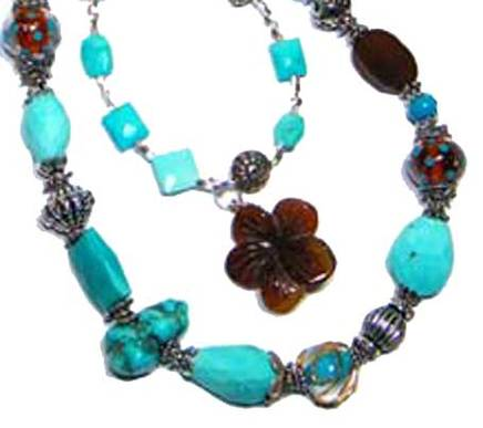 turquoise statement necklace with silver